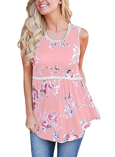 Eytino Women Floral Print T-Shirt Round Neck Casual Blouse Sleeveless Tank Tops,Large Pink