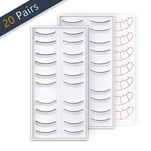 20 Pairs Practice Eyelashes for Lash Extensions, Self Adhesive Training Lashes Strip for Beginner Teaching Lashes Extensions Supplies Perfect Use with eyelash mannequin head 2-Pack by SRCKFIZ