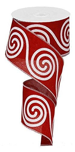 - Woven Red Glitter Large Swirl Ribbon: Red & White 2.5