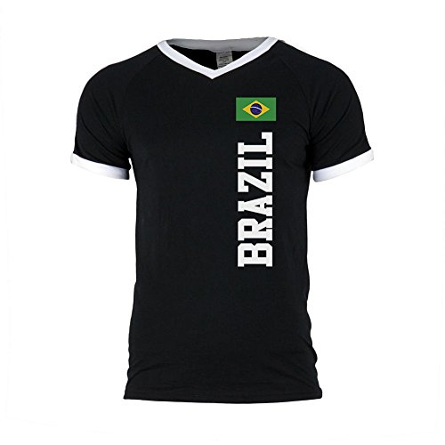 World Cup Brazil Mens Soccer Jersey V-Neck T-Shirt Black-White LG