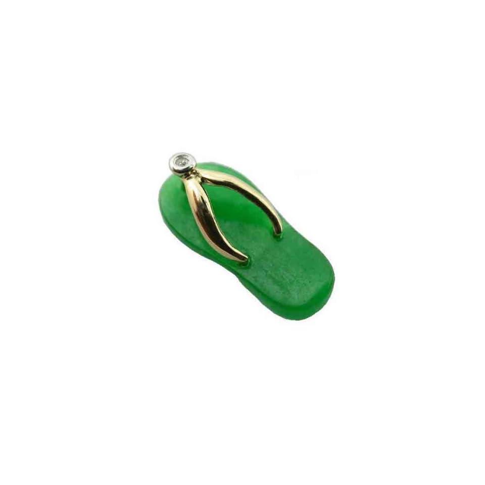 Green Jade Flip Flop Single Diamond Strap Sandal, 14k Gold