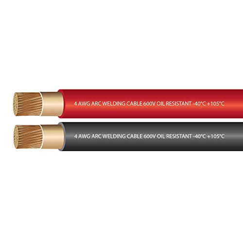 (4 Gauge Premium Extra Flexible Welding Cable 600 Volt COMBO PACK - BLACK+RED - 25 FEET OF EACH - EWCS Branded - Made in the USA!)