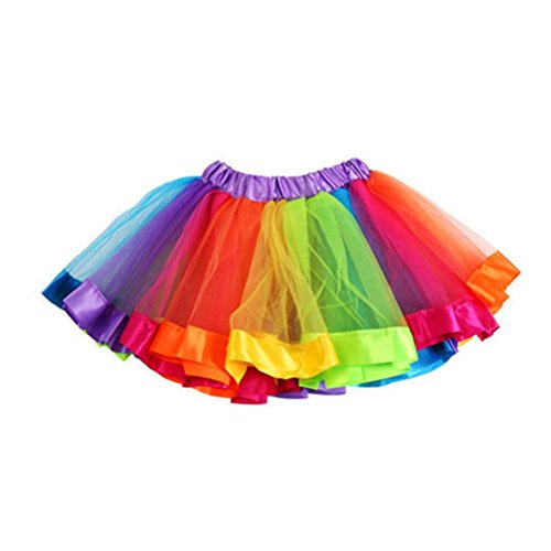 Lisin Girls Kids Petticoat Rainbow Dancewear Pettiskirt Bowknot Skirt Tutu Dress (Multicolor, S) from Lisin