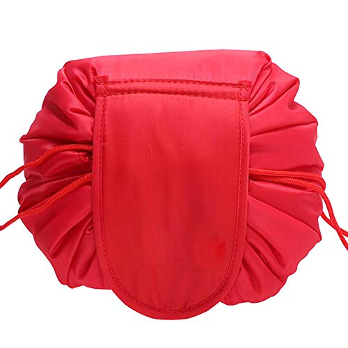 VOCUS Lazy Drawstring Cosmetic Bag Makeup Organizer Pouch Large Capacity Toiletry Travel Bag for Women Girls (A-Red)