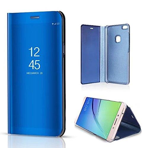 Spiegel Hülle für Huawei P9 Lite 2017,Huawei P9 Lite 2017 Hülle Leder [Rosegold] Schutzhülle Tasche,Artfeel Stilvoll Slim Dünn Überzug Hard Flip Stoßfest Handyhülle mit Built-in Standfunktion Make Up  Blau