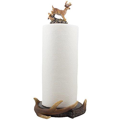 Wild Buck and Deer Antlers Paper Towel Holder - Towel Sculpture