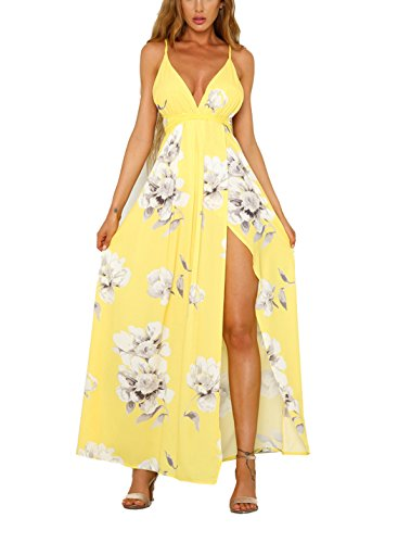 Lace Neck Sexy Up Women s Maxi Dress Beach Split FFLMYUHULIU Floral V Print Strap Huangse Backless Deep PXqSqwvxY