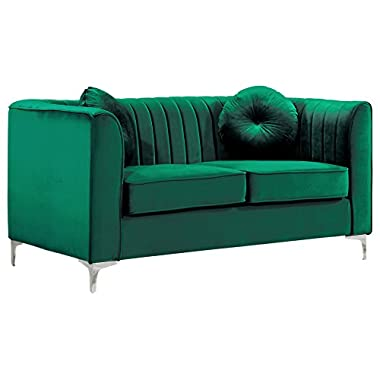 Meridian Furniture Isabelle Collection Love Seats, 62  W x 35.5  D x 31  H, Green