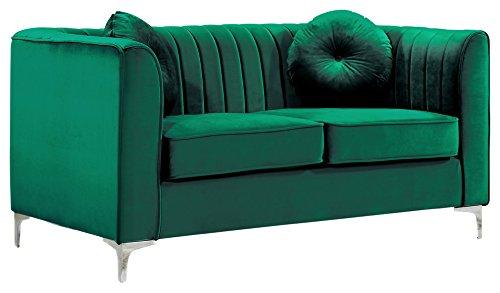 Meridian Furniture 612Green-L Isabelle Channel Tufted Velvet Upholstered Loveseat with Custom Chrome Legs, Green