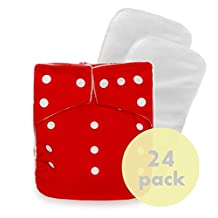 24 KaWaii Baby Original Squared One Size Cloth Diapers 48 Large Inserts (8-36 POUNDS)