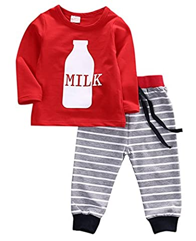 Kids Baby Girl Boys Striped Long Sleeve Pajamas Set Nightwear Sleepwear Clothes (2-3 Years, Milk(Red))