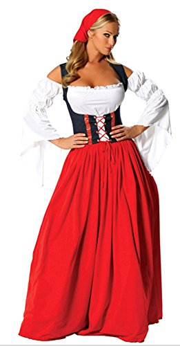 RoseSummer Halloween Flirty Fraulein Oktoberfest Outfit Fancy Dress Sexy (Beer Wench Hair)