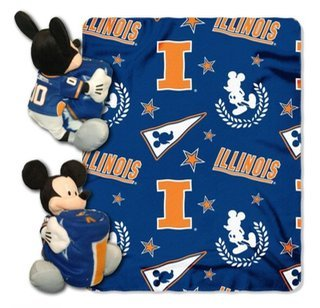 (MICKEY NCAA Illinois Throw With 14 Inch Plush | Kids Throw | Toddler Fleece Blanket | Kids Fleece Blanket)