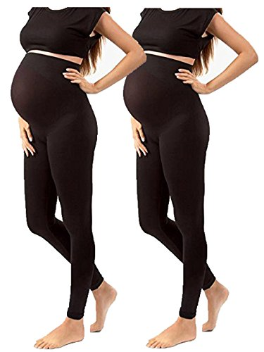 ZBD Apparel Maternity Over The Belly Super Soft Support Leggings -Maternity Clothes - Stretch Material Tights (One Size Fits All - Maternity, 2 Pack Black Leggings Maternity) Great Maternity Clothes