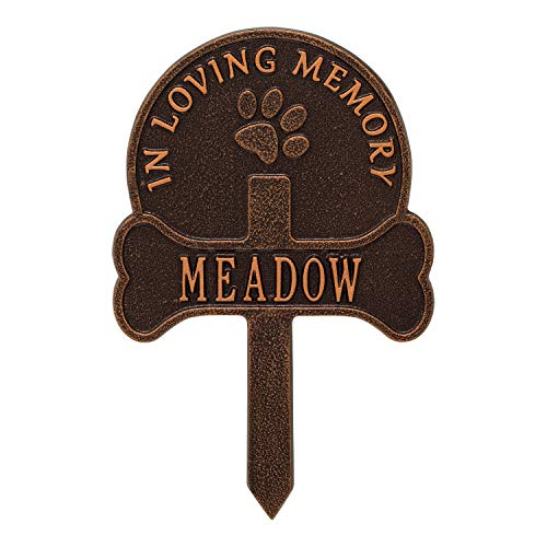 Whitehall Paw and Bone Personalized Pet Memorial Yard Sign - Remembrance Grave Marker and Garden Stake - Antique Copper