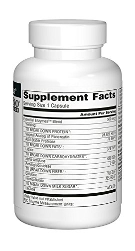 Source Naturals Essential Enzymes 500mg Bio-Aligned Multiple Enzyme Supplement - 120 Capsules