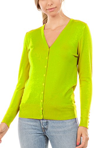 CIELO Women's Regular Solid Cardigan with Decorative Buttons Lime Medium