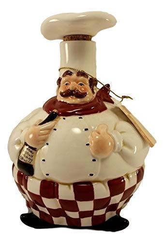 French Italian Chef Ceramic Oil Vinegar Cruet Bottle Dispenser