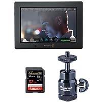 Blackmagic Design Video Assist 4K, 7-inch High Resolution Monitor Ultra HD Recorder - Bundle SanDisk 32GB ExtremePRO UHS-I U3 SDHC Card, Mini Ballhead Cold Shoe, Cleaning Kit