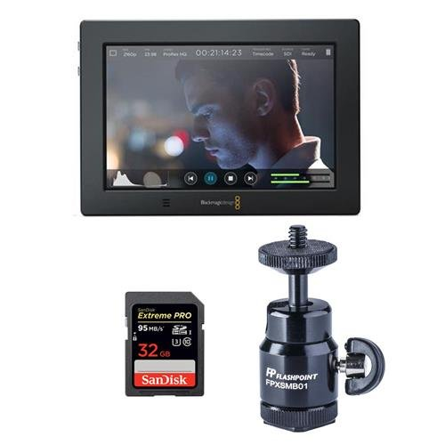 Blackmagic Design Video Assist 4K, 7-inch High Resolution Monitor with Ultra HD Recorder - Bundle with SanDisk 32GB ExtremePRO UHS-I U3 SDHC Card, Mini Ballhead with Cold Shoe, Cleaning Kit by Blackmagic Design