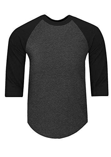 RA2102_5X Baseball T Shirts Raglan 3/4 Sleeves Tee Cotton Jersey S-5XL C.Grey/Black 5X