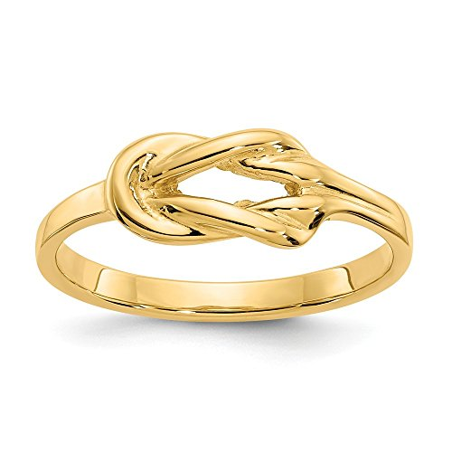 Size - 9 - Solid 14k Yellow Gold Freeform Knot Ring (2 to 7 mm)