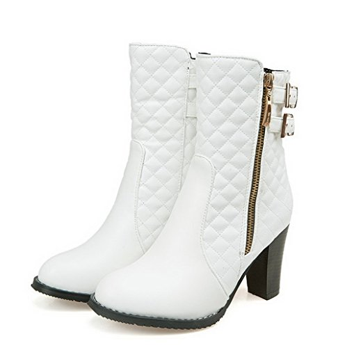 Boots Pu High Women's Zipper Heels Solid Allhqfashion Round Toe White Closed Z5qEzz1wx