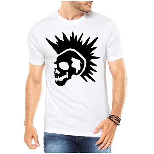 Camiseta Criativa Urbana Caveira Punk Branco Gg