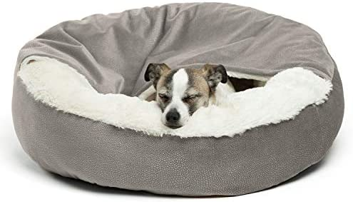 Best Friends by Sheri Cozy Cuddler, Luxury Dog and Cat Bed with Blanket for Warmth and Security – Offers Head, Neck and Joint Support – Machine Washable, Water-Resistant Bottom – For Small Pets Up to 25lbs, Medium Pets Up to 35lbs