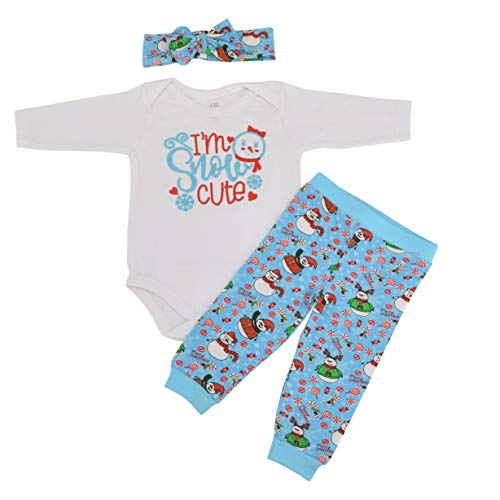 Unique Baby Girls 1st Christmas Onesie Outfit Snow Cute Layette Set (9 Mo) -
