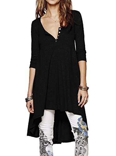 Naggoo Womens Sleeve Asymmetrical Shirts