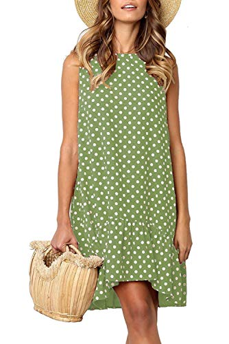 35b52be34a571 Green Dresses for Women Casual Retro 50s Trendy Wave Point Summer Dress for  Workout Medium
