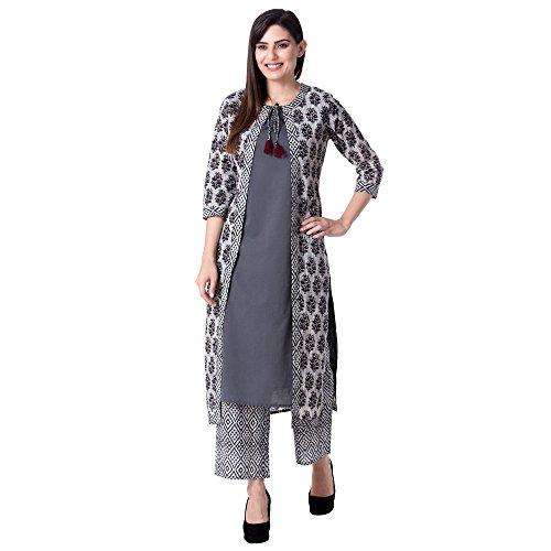 Khushal Women S Cotton Printed Jacket Kurti With Pants Kk53 Grey M