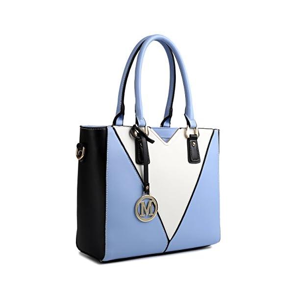 Miss Lulu Sac à Main Cuir PU en Forme de V Bandoulière pour Femme (Bleu)