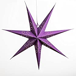 Fountain Purple Paper Star Lantern with 12 Foot Power Cord Included