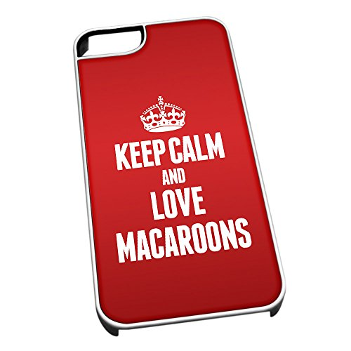 Bianco cover per iPhone 5/5S 1242Red Keep Calm and Love macarons