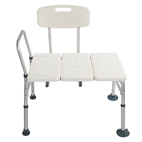(Azadx Bath Chair, Adjustable Handicap Shower Chair Seat Bench Transfer Bench with Arms and Backs, 3 Blow Molding Plates Aluminium Alloy for Seniors Elderly Baby Bathtub Lift Chair (White))