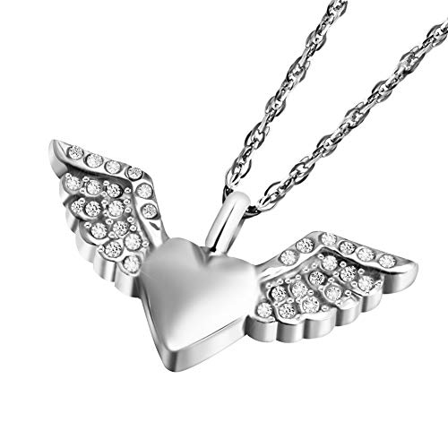 Dletay Crystal Angel Wing Cremation Jewelry Urn Necklace for Ashes Love Heart Memorial Ashes Keepsake Necklace (Crsls)