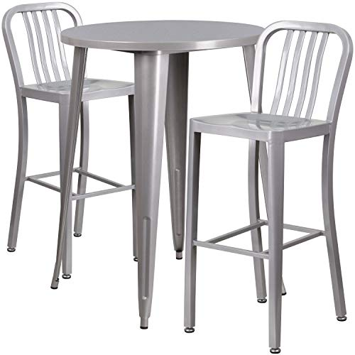 My Friendly Office MFO 30'' Round Silver Metal Indoor-Outdoor Bar Table Set with 2 Vertical Slat Back Stools