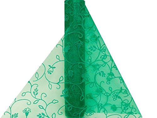(Embroidered 12 Inch X 10Yards Besos Organza - Emerald )