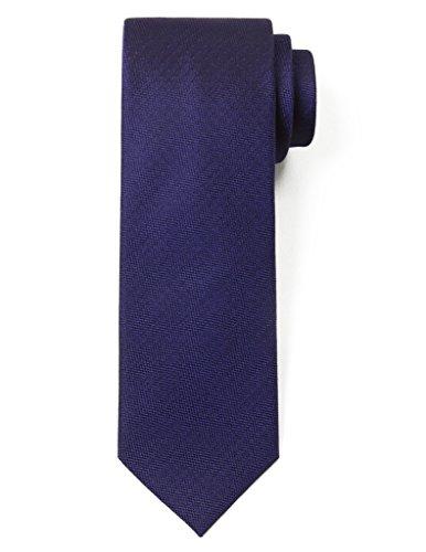 Origin Ties 100% Silk Textured Solid Color Men's Skinny Tie 3'' Necktie Navy Blue