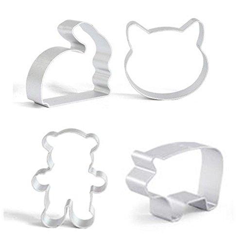Animal Shape Cookie Cutters - 4 Piece Set - Cat Face, Piggy, Bear, Rabbit Mini Aluminum Alloy Cookie Candy Food Molds ()