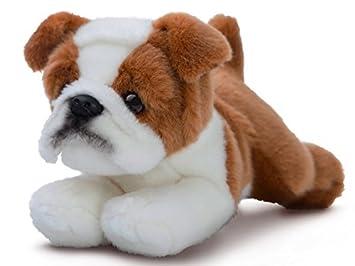 Luv to Cuddle Peluche perro bulldog tumbado, peluche perro de peluche aprox. 28 cm