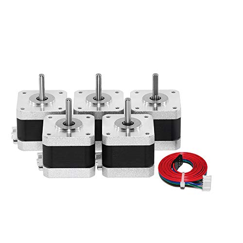 - Usongshine Nema17 Stepper Motor, 42BYGH 38MM 1.5A (17HS4401) 4 Lead Motor with 1M Wire for CNC XYZ 3D Printer Motor (Pack of 5)