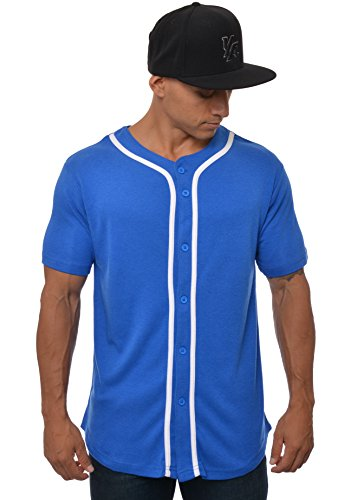 Blue Button Down Jersey (YoungLA Premium Quality Ultra-Soft Cotton Baseball Jersey T-Shirts Plain Button Down Sports Tee Royal Blue - Large)