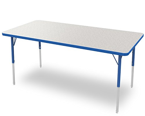 Marco Group 2200 Series Rectangle Activity Table with Swivel Glides,  Gray Glace Top/ Blue Edge and Blue Standard Legs,  30-Inch by 60-Inch by Marco Group