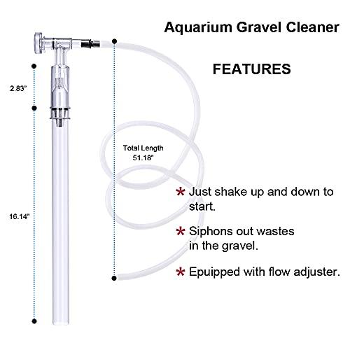 Fish Tank Cleaner Aquarium Siphon Vacuum Gravel - Aquarium Cleaning Tools Kit Algae Scraper Brush and Water Changer with Adjustable Water Flow Controller, Sand Cleaning