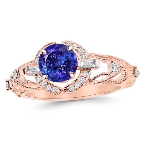 14K Rose Gold Vintage/Antique Baguette and Round Diamond Engagement Ring with a 1 Carat Tanzanite AAA Heirloom Center Stone ()