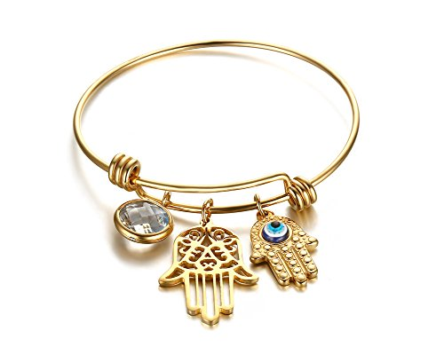 Huanian 18K Gold Plated Stainless Steel Hamsa Hand Charm Bangle (14k 18k Charm Bracelet)
