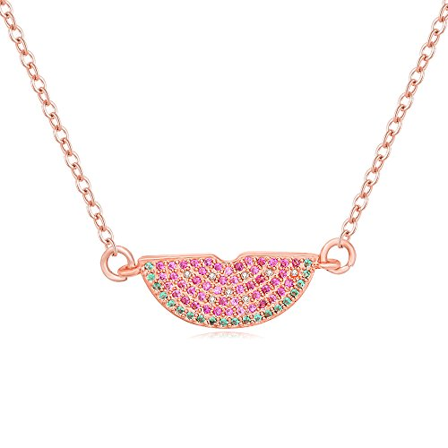 CHUYUN 3 Color Summer Autumn Delicious Fruit Design Colorful Cubic Zirconia Watermelon Pendant Fashion Necklace Jewelry (Rose Gold) by CHUYUN